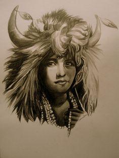 Sketch Buffalo Girl by Sami Edelstein