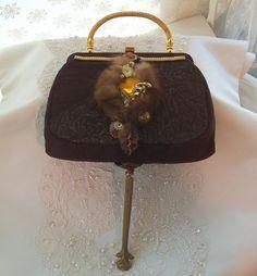 Advant Garde Purse Brown silk Steampunk by #Hopscotch Couture