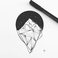 Ice ice baby. #illustration #illustrator #drawing #draw #sketch #art #artwork #instaart #artist #artistic #night #stars #mountains #iceberg #landscape #linework #dotwork #blackwork #blackworkers #iblackwork #geometry #blackandwhite #tattoo #tattoodesign #instafollow #evasvartur