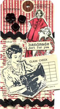 Handmade Just For You Tag is rubber stamped, collaged with vintage images, embellished with buttons & ric-rac.