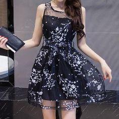 #AdoreWe #YesStyle Yinaike Printed Mesh Sleeveless A-Line Dress - AdoreWe.com