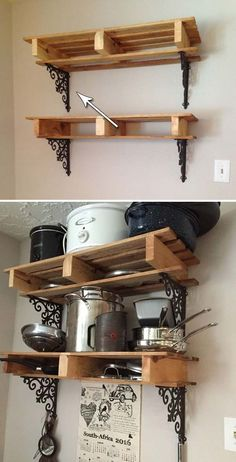 Support and decorate a pallet pot rack with iron brackets.