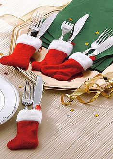 DIY - Those inexpensive mini stockings used as silverware holders.