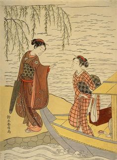 (Japan) Two Girls Alighting from a Boat by Suzuki Harunobu (1725- 1770). woodblock print.