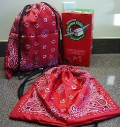 Bandanna 3-Step, Five Minute Drawstring Tote Bag for Operation Christmas Child Shoe Boxes--quick, sturdy & holds the box.