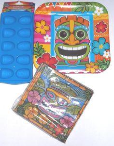 Tiki Luau Paper Plates Napkins and 2 Tiki Head Ice Cube Trays Party Supplies Set #Unbranded #LuauBeachParty