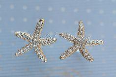 Champagne Starfish Earrings. Gold Beach by RubyBloomsJewelry