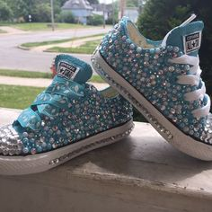"""size 7 in kids """"frozen inspired converse """" Bedazzled Converse, Converse Shoes, Bling Shoes, Glitter Shoes, Baby Girl Shoes, Girls Shoes, Creative Shoes, Jeweled Shoes, Decorated Shoes"""