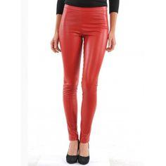 1dd6a518a5 Womens Pure Lambskin Red Leather Skinny Biker Jeans Pants