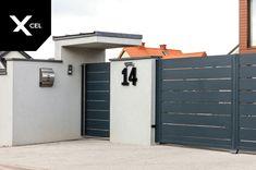L-shaped roof over entry gate // cursor in der form des buchstaben l, заслоняющий eingang auf das gelände. Gate Wall Design, House Fence Design, Front Gate Design, Entrance Design, Front Door Entrance, Front Yard Fence, Entrance Gates, Gate Designs Modern, Modern Fence Design