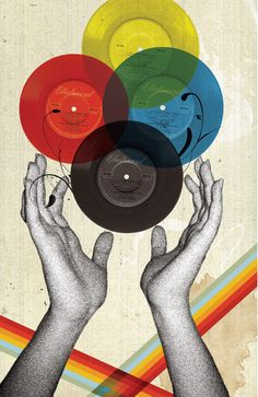 records, vintage, hands