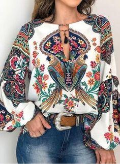 Vintage Floral Print Tassel Blouse Shirts Women Spring Summer Casual Plus Size V-neck Lanter Sleeve Bohemia Tops Loose Bluse Shirts & Tops, Shirt Blouses, Women's Tops, Chiffon Blouses, Denim Shirts, Sexy Shirts, Casual Shirts, Trend Fashion, Ethnic Fashion