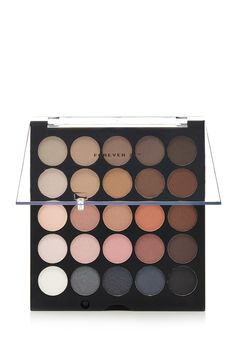An eyeshadow palette featuring 25 shadows in various nude and smoke shades.