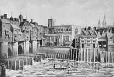 London Bridge, City End with St. Magnus Church. from Malcolm C. Salaman, London past and Present, p. 22.