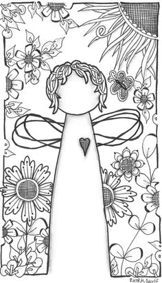 Pattern sheet for zentangle Colouring Pages, Adult Coloring Pages, Coloring Books, Doodle Drawings, Doodle Art, Garden Angels, Angel Art, Digi Stamps, Embroidery Patterns