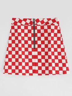 b4daa632f Checkerboard Print A Line Mini Skirt