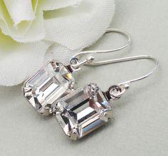 Clear Swarovski crystal Square Cut Earrings by DehnikeDesigns, $18.00