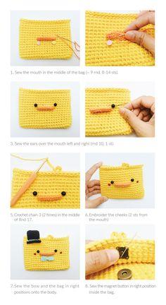 70 Ideas for crochet patterns amigurumi kawaii projects Crochet Wallet, Crochet Pouch, Crochet Shell Stitch, Crochet Lace Edging, Crochet Purse Patterns, Crochet Patterns Amigurumi, Kawaii Crochet, Cute Crochet, Crochet Handbags