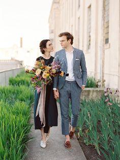 Modern garden wedding on Alcatraz island