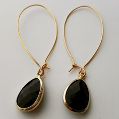 Modern earrings. Black and gold teardrop earrings. Drop Earrings. Dangle Earrings. Modern Drop Earrings. Christmas Gift by SolCreationsStore on Etsy