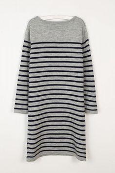 Striped Round Neck Long Sleeve Knit Bodycon Dress