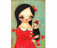 YORKIE dog PRINT of sweet girl and her pet poster made by tascha,