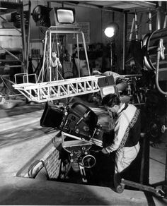 a technician readies the camera for the stock shot of Scott on his way to Thunderbird 1