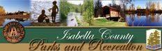 """Isabella County, Michigan - Coldwater Lake Family Park. Camping, """"Old West"""" themed playground, sandy swimming beach, etc."""