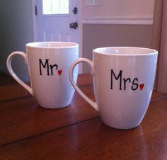 Mr Mrs Wedding Coffee Mugs  by TulaTinkers on Etsy, $16.00