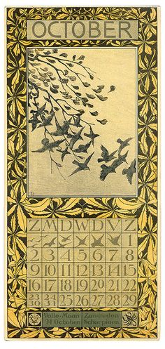 October, a calendar page from 1904 by nl:Theo van Hoytema (1863 – 1917) published by Tresling & Co.