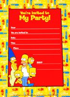 #Simpsons birthday party invitations pack 12 $5.95 (includes envelopes) available via http://www.24-7partypaks.com.au/#!product/prd1/3660206541/simpsons-birthday-party-invites-envelopes-pack-12