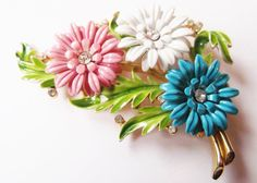 Vintage Brooch Crown Trifari Enamel Flower Pink Blue by sberryhill, $135.00