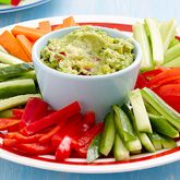 These Guacamole with Vegie Sticks make a delicious & healthy snack.. For a healthy option offer the kids a rainbow fruit platter: strawberries for red, mango for orange, pineapple for yellow, kiwfruit for gree...