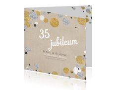 Uitnodiging jubileum 35 met confetti in zilver en goudlook
