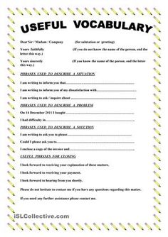 This paper contains useful vocabulary and phrases when you write a complaint letter. - ESL worksheets