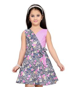 Look what I found on #zulily! Pink Floral Surplice A-Line Dress - Toddler & Girls #zulilyfinds