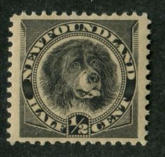 A Newfoundland dog, as shown on this 1896 stamp issue from Newfoundland. Commemorative Stamps, Canadian History, Newfoundland And Labrador, Vintage Stamps, Mail Art, Stamp Collecting, Vintage World Maps, True North, Nova Scotia