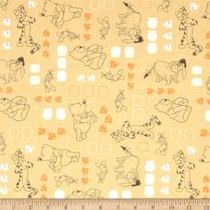 Disney Winnie The Pooh Characters Chamomile from @fabricdotcom  Designed by Disney and licensed to Springs Creative Products, this cotton print fabric is perfect for quilting, apparel and home decor accents. Colors include white, grey, gold and orange. Due to licensing restrictions, this item can only be shipped to USA, Puerto Rico, and Canada.