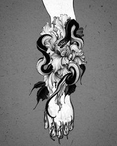 Black Art Tattoo, Dark Tattoo, Black Tattoos, Hand Tattoos For Guys, Small Girl Tattoos, Skull Tattoos, Sleeve Tattoos, Tattoo Sketches, Tattoo Drawings