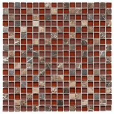 want this in our kitchen!!!! red black charcoal cream backsplash