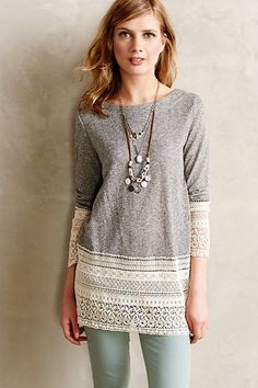 Recessed Lace Sweatshirt//I bet this could be easily made! Hardest part would be finding the correct lace.