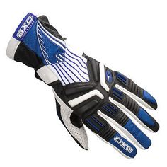 AXO Saber Motorcycle Gloves S M L XL Blue Red White Cowhide leather TPR inserts
