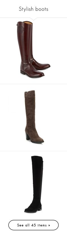 """Stylish boots"" by dresslikearoyal ❤ liked on Polyvore featuring shoes, boots, brown, leather knee high boots, zip boots, real leather boots, low heel leather boots, leather boots, gray suede boots and side zip boots"