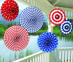 Celebrate your holidays with Patriotic Paper Fan Pinwheel Hanging Decorations #patriotic #redwhite&blue