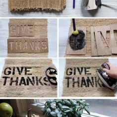 DIY Home Printed Burlap Spell out your words with stencil letters Hold the stencil in place and fill in the letters with black fabric paint Let dry Set with your iron