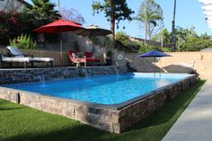 Exclusive only to Secard Pools, the vinyl lined Islander Pool is a prefabricated and fully customizable in ground pool offered at an affordable price. Backyard Pool Landscaping, Backyard Pool Designs, Small Backyard Pools, Small Pools, Swimming Pools Backyard, Backyard Projects, Islander Pools, Dream Pools, In Ground Pools