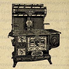 Antique Stove Digital Image Download Printable Graphic Vintage Clip Art. Printable high quality digital image. This high resolution digital graphic is excellent for transfers, printing, pillows, papercrafts, tea towels, tote bags, and more. Real vintage artwork. This image is high quality and high resolution at size 8½ x 11 inches. Transparent background version included with all images.