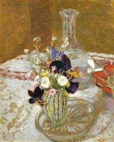 ÉDOUARD VUILLARD 1868-1940 Bouquet De Pensées, De Myosotis Et De Pâquerette, Devant Une Carafe, Sur Une Table