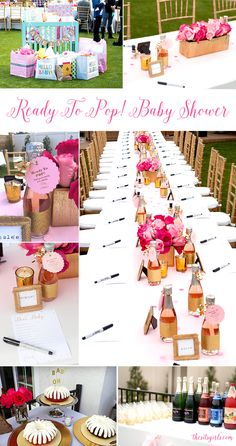 Ready to pop! This beautiful pink and gold baby shower is the sweetest way to welcome a new little girl into the world. Click for great tips on flowers, an easy champagne bottle DIY, and other cute baby shower ideas.