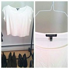 Perfect cropped top Cropped, boxy, soft, luxurious white blouse! Can be worn casual or dressed up, such a great staple piece.  Brand is Eileen Fisher, PS, can fit up to a smaller M due to the boxy/crop style. Has been dry cleaned, got wrinkled when I moved this weekend!! Eileen Fisher Tops